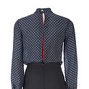 Forties Style Polka Dot Silk Blouse