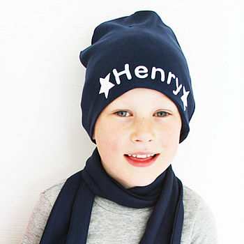 Personalised Boy's Star Beanie Hat