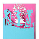 Lights Camera Action Greetings Card in Tabriz and Hot Pink
