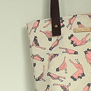 Bird Print Canvas Tote Bag