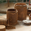 Set of Three Round Cinnamon boxes - ideal for kitchen storage.