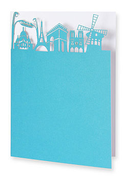 Paris Skyline Greetings Card in Tabriz and Arctic Grey