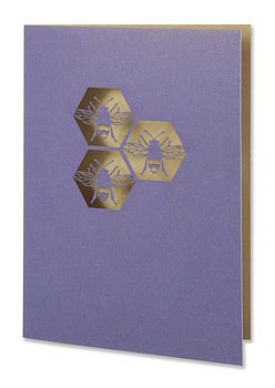 Bees Greetings Card in Regal Blue and Gold