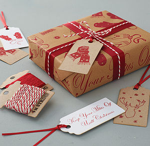 'Keep Your Mitts Off' Gift Wrap Set - christmas labels & tags