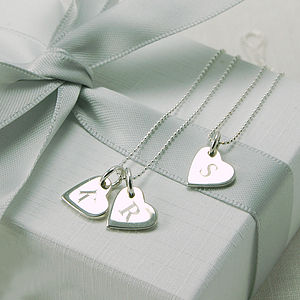 Personalised Initial Heart Token Necklace - bridal necklaces
