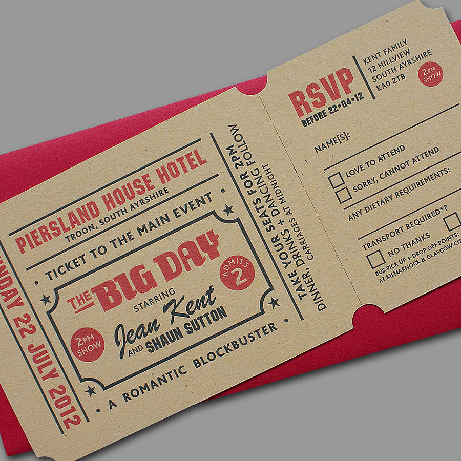 Invitation Ticket Popcorn' Letterpress Wedding Stationeryyield Ink .