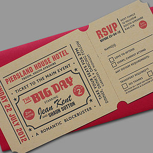 'Popcorn' Letterpress Wedding Stationery - save the date cards