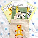 Three Teddy Photo Story Books In A Cotton Bag