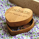 Solid Oak Heart Jewellery and Treasures Box from Cleancut Wood 4