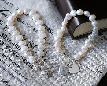 Freshwater Pearl Bracelet With Silver Heart