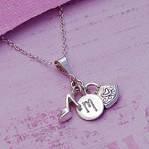 Girls Personalised Silver Charm Necklace