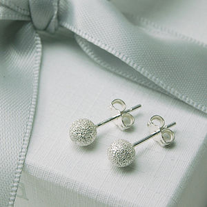 Frosted Silver Stud Earrings - earrings