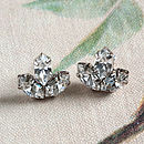 Cecily Crystal Three Leaf Stud Earrings