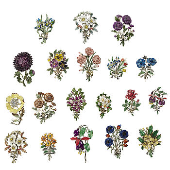 Vintage 1950s Birthday Brooches