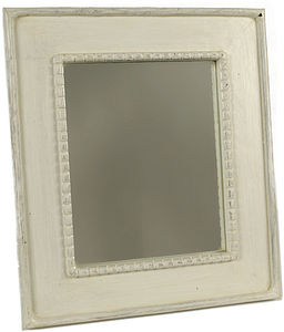 Handcarved wooden beaded mirror - mirrors