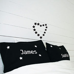 Personalised Set Of Star Pillow Cases - bedroom