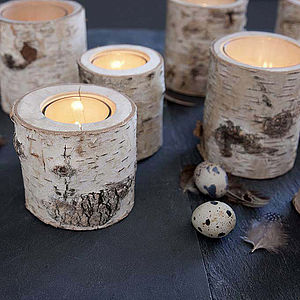Glass Lined Birch Votive - lighting