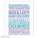 Personalised 'Family Story' Poster Print: blues