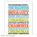 Personalised 'Family Story' Poster Print: retro brights