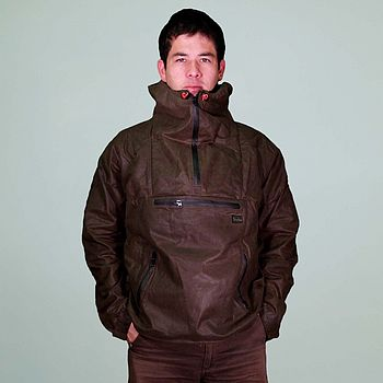 Hooded waxed jacket in a cagoule style
