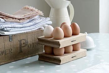 Wooden Egg Rack Solid Oak