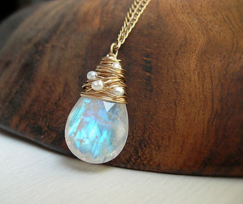 Moonstone Necklace With Fresh Water Pearls