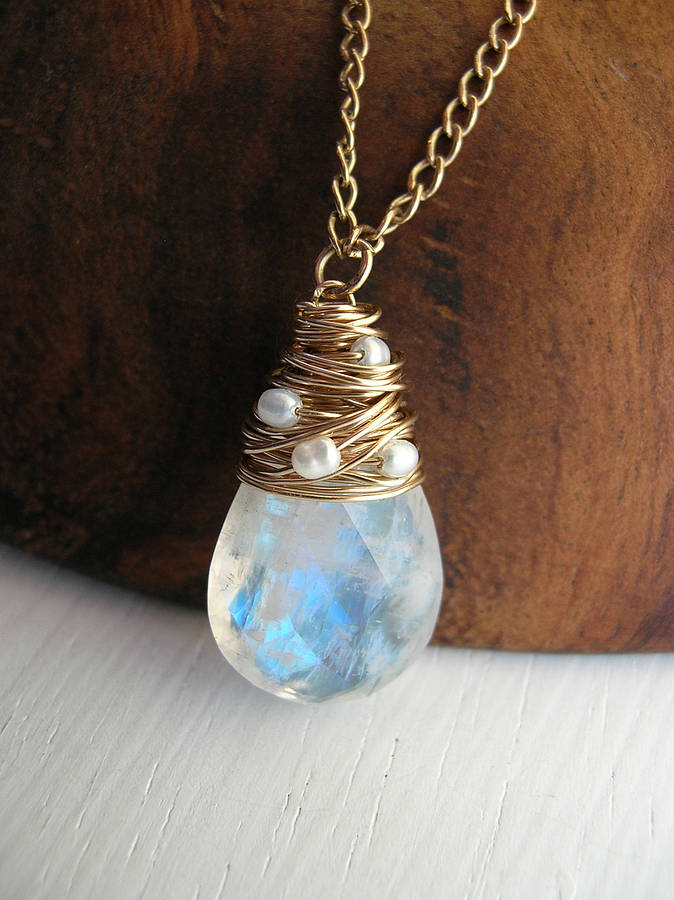 Moonstone Necklace With Freshwater Pearls By Sarah Hickey
