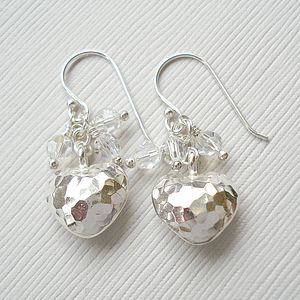 Hammered Puffed Heart Earrings With Swarovski Crystals - earrings