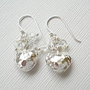 Hammered Puffed Heart Swarovski Earrings