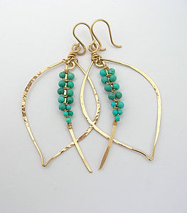 Turquoise Tusk Earrings - december birthstone
