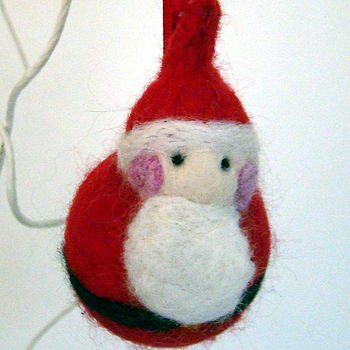 Hand Felted Father Christmas Bauble