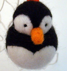 Hand Felted Penguin Bauble - decorative accessories