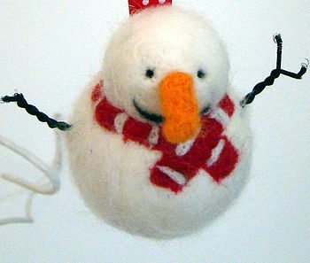 Hand Felted Snowman Bauble