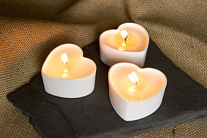 Set Of Three Heart Candle Cases