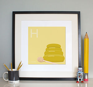 'H Is For Honey' Print - posters & prints