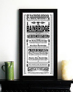 Personalised Vintage Family Print - gifts for families