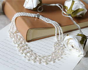 Freshwater Three Strand Rice Pearl Necklace