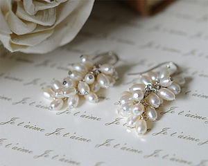 Freshwater White Rice Pearl Earrings - bridal edit
