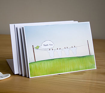 Set Of Ten Baby Thank You Postcards