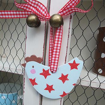 Little Wooden Starry Hen Decoration
