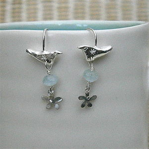 Bird Hook Earrings With Gems And Flowers