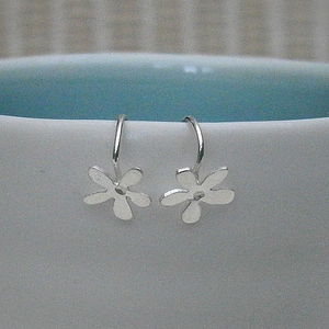 Tiny Silver Flower Hook Earrings - wedding thank you gifts
