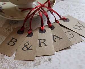 Personalised Set Of Three Letter Tags - ribbon & wrap