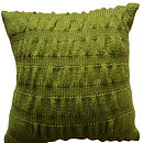 Handknit Ruche Effect Cushion - Moss Green