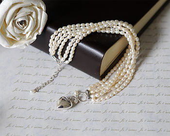 Three Strand Rice Pearl Necklace And Heart