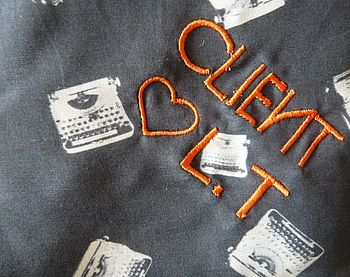 detail of neon orange thread