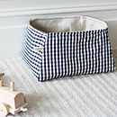 medium basket with fairly traded blue gingham