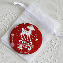 red christmas handbag mirror with organza bag