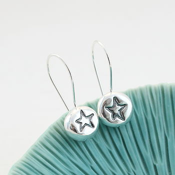 Solid Silver Star Pebble Drop Earrings