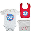 Drink More Milk Babyvest/Bib Giftset